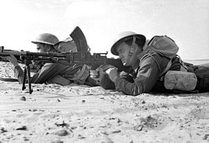 Southern Rhodesia in World War II - A Rhodesian Bren light machine gun team with the King's Royal Rifle Corps in the Western Desert, 1942