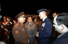 Richard B. Myers met upon his arrival in Tbilisi by General Lieutenant Joni Pirtskhalaishvili. 23 Nov 2002.jpeg