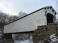 Richland-Plummer Creek Covered Bridge, southern side and eastern end.jpg