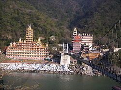 Rishikesh view across Lakshman Jhula bridge over the Ganges.