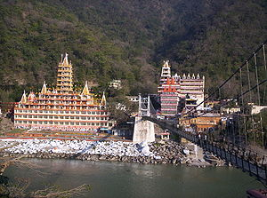 Rishikesh - Rishikesh view across Lakshman Jhula bridge over the Ganges