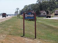 Welcome sign along U.S. 67 .