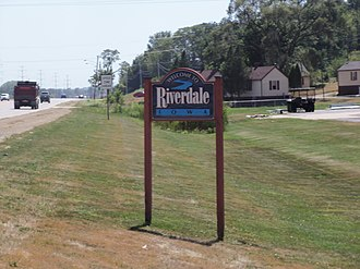 Riverdale, Iowa - Welcome sign along U.S. 67