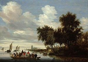 River Landscape with Ferry - Image: Rivierlandschap met een veerboot Rijksmuseum SK C 1698