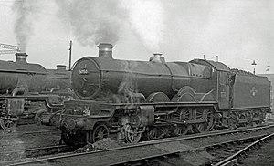 "Wolverhampton railway works - GWR ""Castle Class"" 4-6-0 5050 ""Earl of St Germans"" at Wolverhampton (Stafford Road) motive power depot in December 1958."