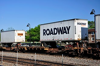 Roadway Services - A Roadway Express truck on a rail car