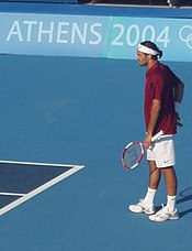 Federer at the 2004 Summer Olympics.