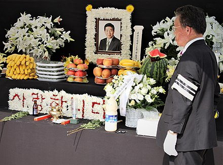 Sidewalk memorial for Roh set up across the street from Seoul City Hall on 10 July 2009. RohMoo-hyun.jpg
