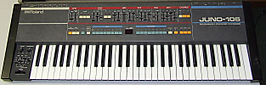 De Roland Juno-106 synthesizer