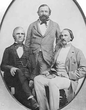 Joe Rolette - Rolette (center), Henry Hastings Sibley (right), and a man possibly identified as Franklin Steele (left). c. 1857