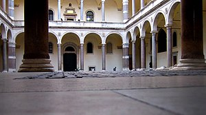 Palazzo della Cancelleria - The courtyard with the original columns from the Theatre of Pompey.