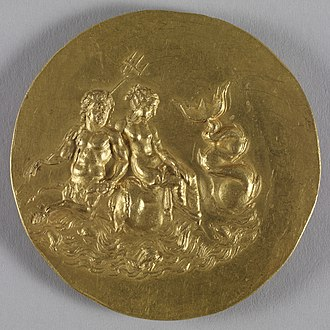 Neoptolemus I of Epirus - Medallion depicting Poseidon and Olympias, daughter of Neoptolemus.