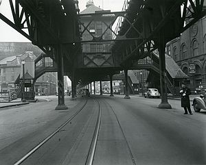 Orange Line (MBTA) - Rowes Wharf station on the Atlantic Avenue Elevated in 1942 - four years after closure - just before being demolished