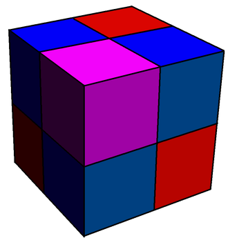 Runcination - A runcinated cubic honeycomb (partial) - The original cells (purple cubes) are reduced in size. Faces become new blue cubic cells. Edges become new red cubic cells. Vertices become new cubic cells (hidden).