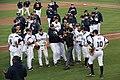 Russ Chandler Stadium Georgia Tech players (12854085965).jpg