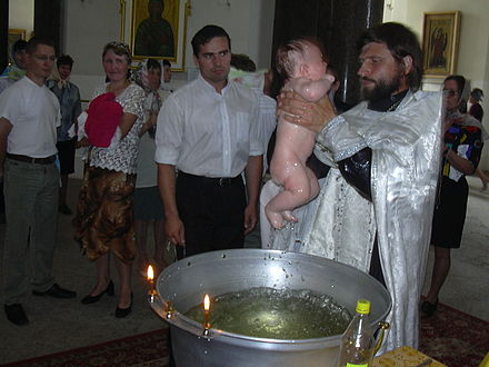 Baptism by submersion in the Eastern Orthodox Church (Sophia Cathedral, 2005). Russian-baptism.JPG