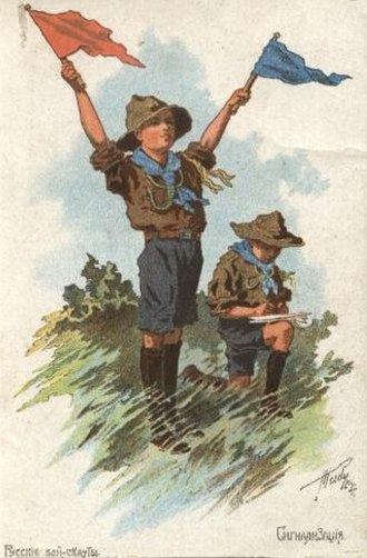 Scouting in Russia - Russian Boy Scouts Signaling. Postcard, 1915