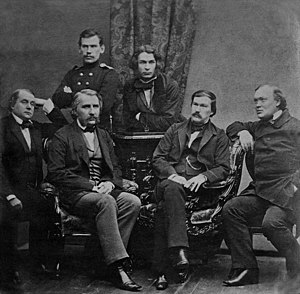 Dmitry Grigorovich - Contributors to Sovremennik: Grigorovich (top center) next to Leo Tolstoy, Bottom row: (from left) Goncharov, Turgenev, Druzhinin, and Ostrovsky. Photograph by Sergey Levitsky, 1856.
