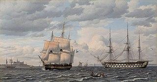 Russiske sejlskibe ved udmundingen af havnen i Helsingør