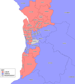 Electoral districts of South Australia - Map of metropolitan electoral districts showing results from the 2014 election and changes since.