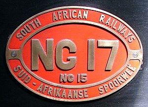 """South African Class NG15 2-8-2 - Number plate with """"NG"""" prefix to number"""