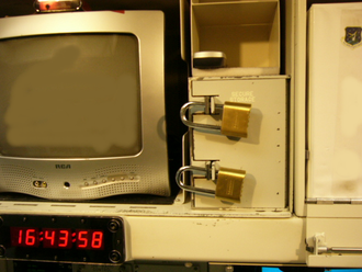 Two-man rule - Sealed Authenticator System safe at a missile launch control center with two crew locks