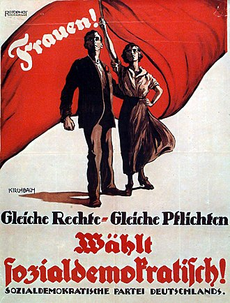 Suffrage - German election poster from 1919: Equal rights – equal duties!