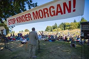 Kinder Morgan Trans Mountain Pipeline System - Burnaby Mayor Derek Corrigan addresses the crowd, at the STOP KINDER MORGAN protest rally, on Burnaby Mountain Park.