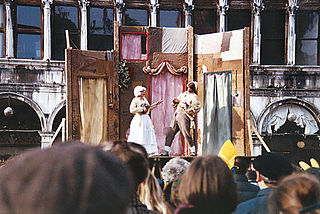 "<i>Commedia dellarte</i> Theatre characterized by masked ""types"""