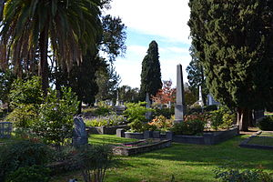Sacramento Historic City Cemetery - View from the northeast corner of the cemetery