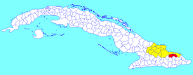 Sagua de Tánamo municipality (red) within  Holguín Province (yellow) and Cuba