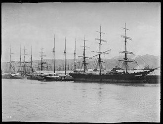 Honolulu Harbor - Sailing vessels at wharf in Honolulu harbor, ca.1892-1907 (CHS-402)