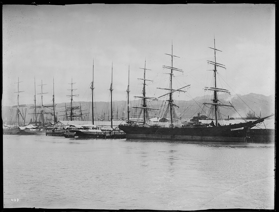 Sailing vessels at wharf in Honolulu harbor, ca.1892-1907 (CHS-402)