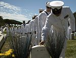 Sailors pays respects to fallen Michael Monsoor at Fort Rosecrans National Cemetery. (29793903250).jpg
