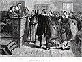 Entre la muchedumbre y el estrado del juez, un niño tendido sobre el suelo sufre convulsiones; el abogado señala esto como una prueba de brujería.