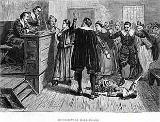Richard Carrier (Salem witch trials) - An 1876 illustration of the courtroom where Carrier needed to testify against his mother.