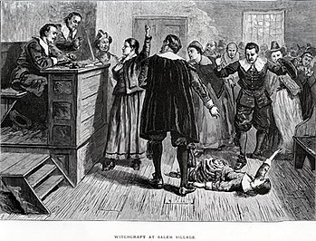 Courtroom at the trial of the Salem witch trials