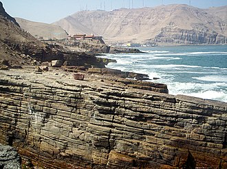 Andean orogeny - The seaward tilting of the sedimentary strata of Salto del Fraile Formation in Peru was caused by the Andean orogeny.