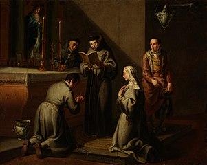 San Francisco impone hábito de la Orden Tercera al caballero Luquerio y a su esposa Buenadonna