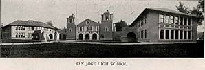 San Jose High School - The Spanish Colonial style third building operated between 1908-1951.