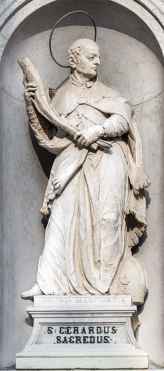 Gerard of Csanád - Statue of St. Gerard in San Rocco, Venice.
