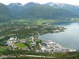 Sandane Village in Western Norway, Norway