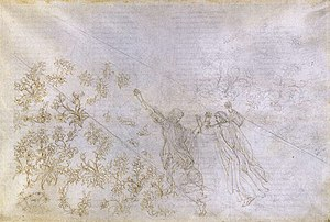 Divine Comedy Illustrated by Botticelli - Paradise, Canto XXX. The vegetation and small figures to the left of the path have been inked over; on the right only the silverpoint stage has been done.