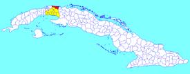 Santa Cruz del Norte-municipo (ruĝa) ene de Mayabeque Provinco (flava) kaj Kubo