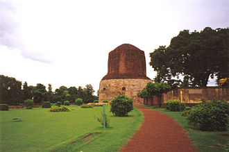 Dhamek Stupa in Sarnath, India, site of the first teaching of the Buddha in which he taught the Four Noble Truths to his first five disciples Sarnath1.jpg