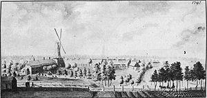 Johann Steinhauer - Sassenhof or Zasumuiza manor at the mill in 1795. Drawing by Johann Christoph Brotze
