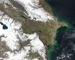 NASA satellite image of Azerbaijan, as of March, 2003.