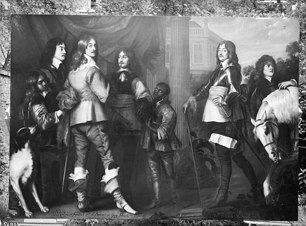 Princes of the collateral House of Nassau-Dietz from the Stadhouderlijk Hof (nowadays called Princessehof Ceramics Museum) in Leeuwarden, H.Prince of Nassau, Henry Casimir, Prince of Nassau, George, Prince of Nassau, and Willem Frederick, Prince of Nassau_Dietz Schilderij- H.Prins van Nassau -H.Prins van Nassau- Georg Prins van Nassau -Willem Prins van Nassau - Leeuwarden - 20130988 - RCE.jpg