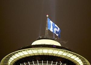 Beast Quake - 12th man flag flying on the Space Needle the day of the game