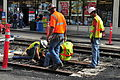 Seattle - laying trolley tracks on Broadway at Pine 26.jpg
